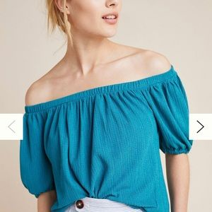 Elodie Off Shoulder Top Turquoise 3/4 Sleeve NWT